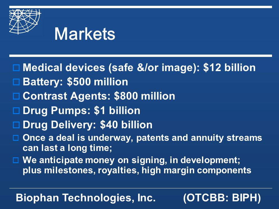 Biophan Technologies, Inc.(OTCBB: BIPH) Markets Medical devices (safe &/or image): $12 billion Battery: $500 million Contrast Agents: $800 million Drug Pumps: $1 billion Drug Delivery: $40 billion Once a deal is underway, patents and annuity streams can last a long time; We anticipate money on signing, in development; plus milestones, royalties, high margin components