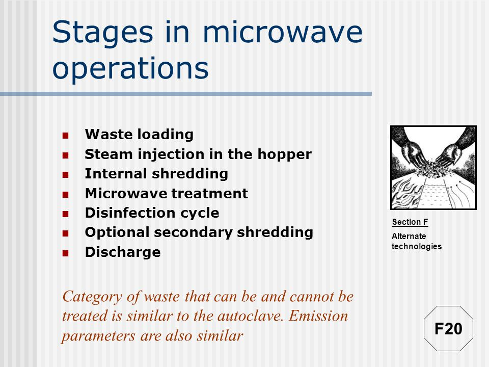 Section F Alternate technologies Stages in microwave operations Waste loading Steam injection in the hopper Internal shredding Microwave treatment Disinfection cycle Optional secondary shredding Discharge Category of waste that can be and cannot be treated is similar to the autoclave.
