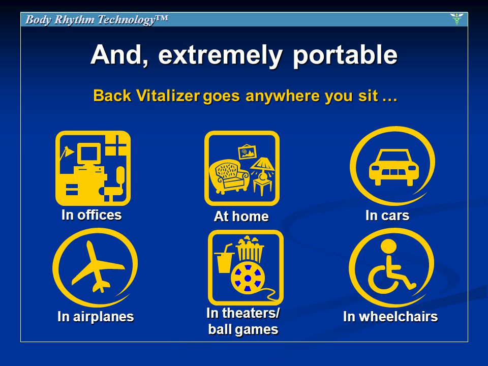 And, extremely portable In offices In airplanes At home In cars Body Rhythm Technology Back Vitalizer goes anywhere you sit … In wheelchairs In theaters/ ball games