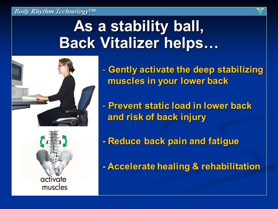 As a stability ball, Back Vitalizer helps… - Gentlyactivate the deep stabilizing muscles in your lower back - Gently activate the deep stabilizing muscles in your lower back - Prevent static load in lower back and risk of back injury - Accelerate healing & rehabilitation - Reduce back pain and fatigue Body Rhythm Technology