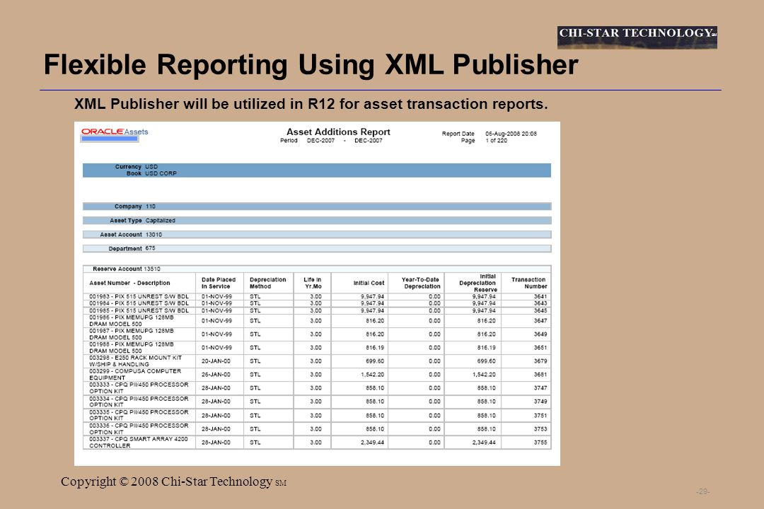 SM Copyright © 2008 Chi-Star Technology SM -29- Flexible Reporting Using XML Publisher XML Publisher will be utilized in R12 for asset transaction reports.