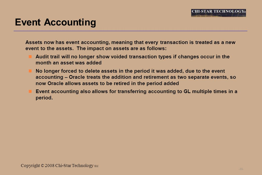 SM Copyright © 2008 Chi-Star Technology SM -33- Event Accounting Assets now has event accounting, meaning that every transaction is treated as a new event to the assets.