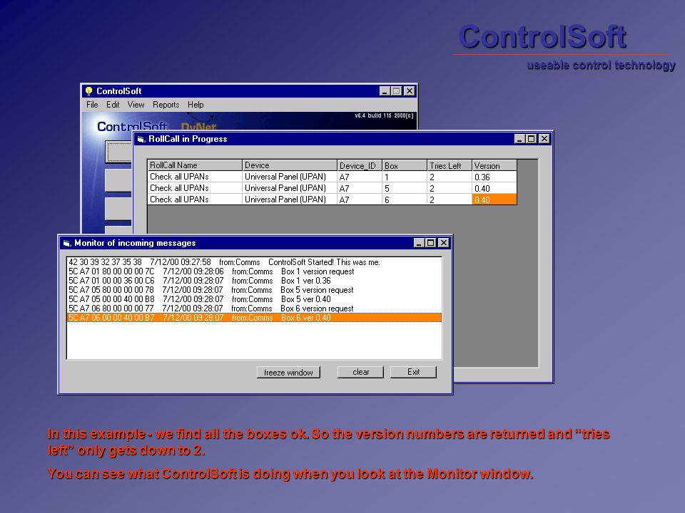 ControlSoft In this example - we find all the boxes ok.