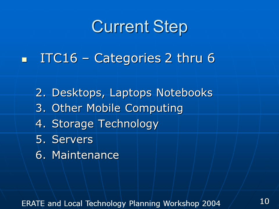 ERATE and Local Technology Planning Workshop 2004 10 Current Step ITC16 – Categories 2 thru 6 ITC16 – Categories 2 thru 6 2.Desktops, Laptops Notebooks 3.Other Mobile Computing 4.Storage Technology 5.Servers 6.Maintenance