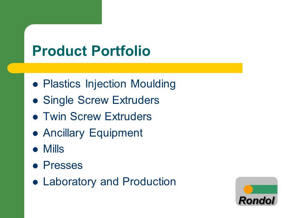 Rondol Product Portfolio Plastics Injection Moulding Single Screw Extruders Twin Screw Extruders Ancillary Equipment Mills Presses Laboratory and Prod