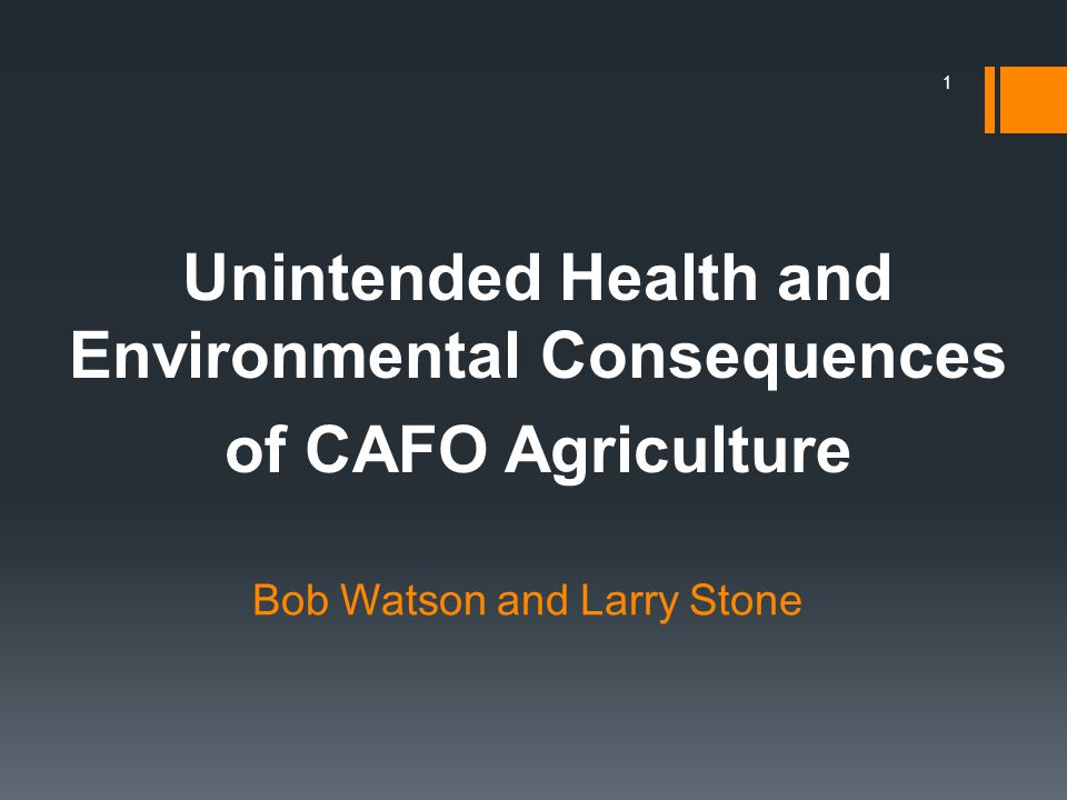 2 This presentation will present the perspective that CAFOs are wastewater technology which has been inappropriately transferred to agriculture.