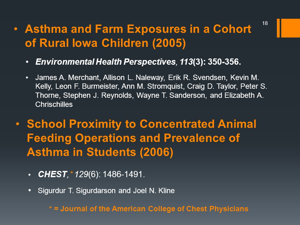 18 Asthma and Farm Exposures in a Cohort of Rural Iowa Children (2005) School Proximity to Concentrated Animal Feeding Operations and Prevalence of Asthma in Students (2006) Environmental Health Perspectives, 113(3):