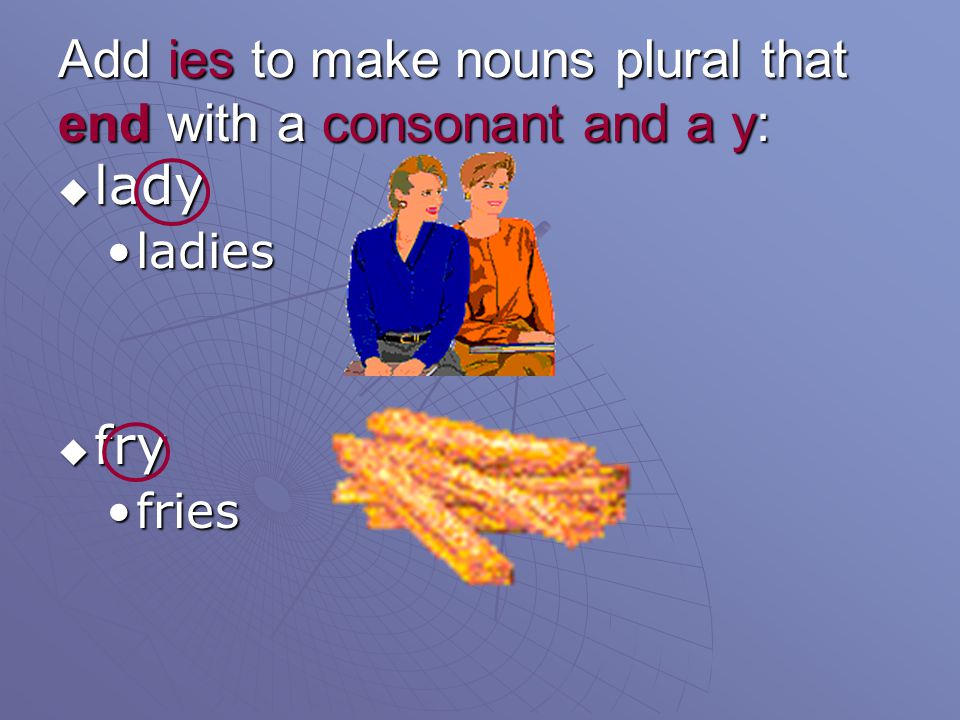 Add ies to make nouns plural that end with a consonant and a y: lady lady ladiesladies fry fry friesfries