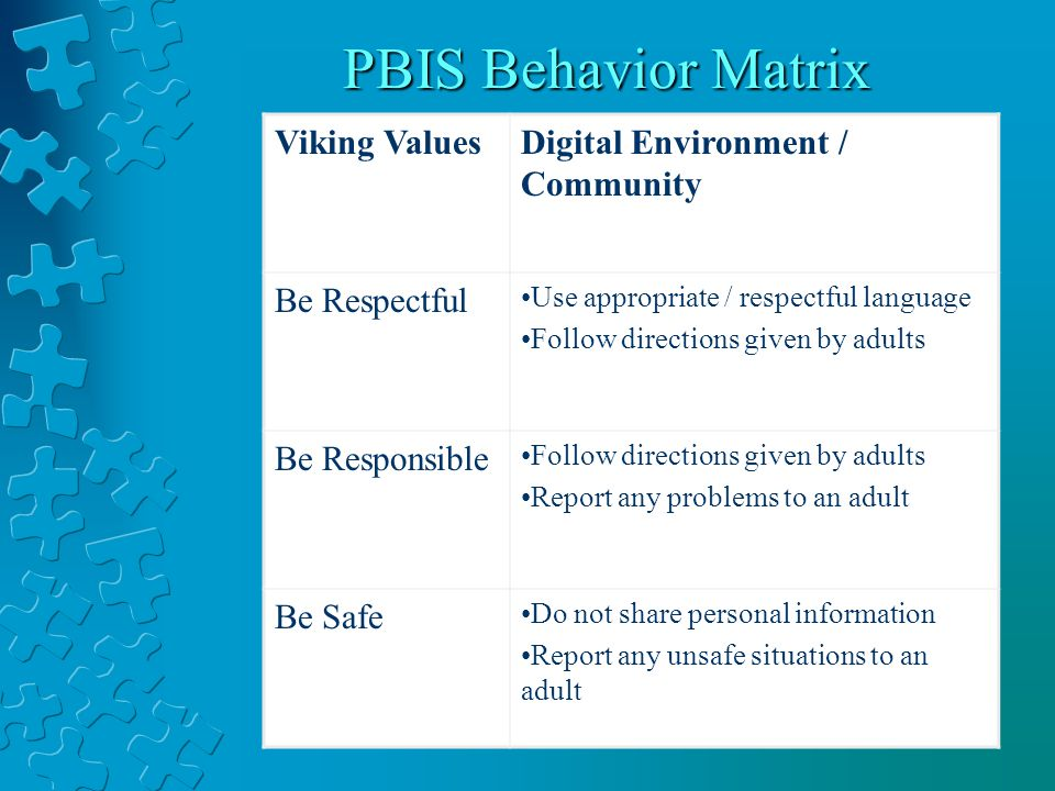PBIS Behavior Matrix Viking ValuesDigital Environment / Community Be Respectful Use appropriate / respectful language Follow directions given by adults Be Responsible Follow directions given by adults Report any problems to an adult Be Safe Do not share personal information Report any unsafe situations to an adult
