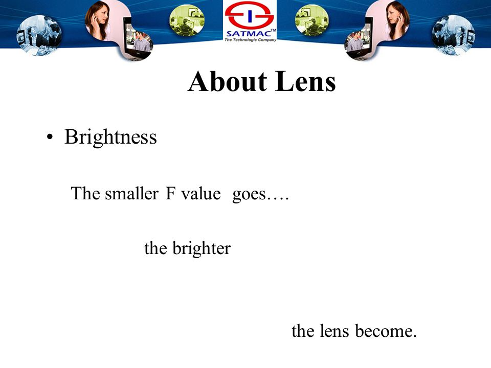 About Lens Brightness The smaller F value goes….