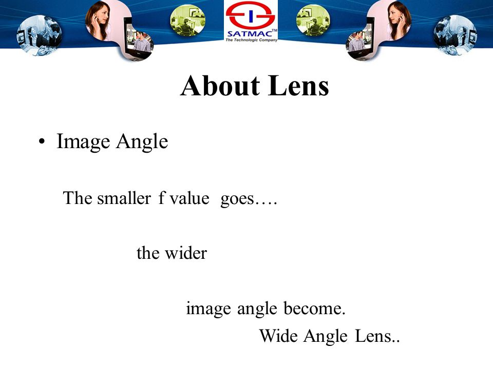 About Lens Image Angle The smaller f value goes…. the wider image angle become.