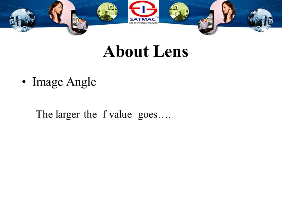 About Lens Image Angle The smaller f value goes…. the wider image angle become. Wide Angle Lens..