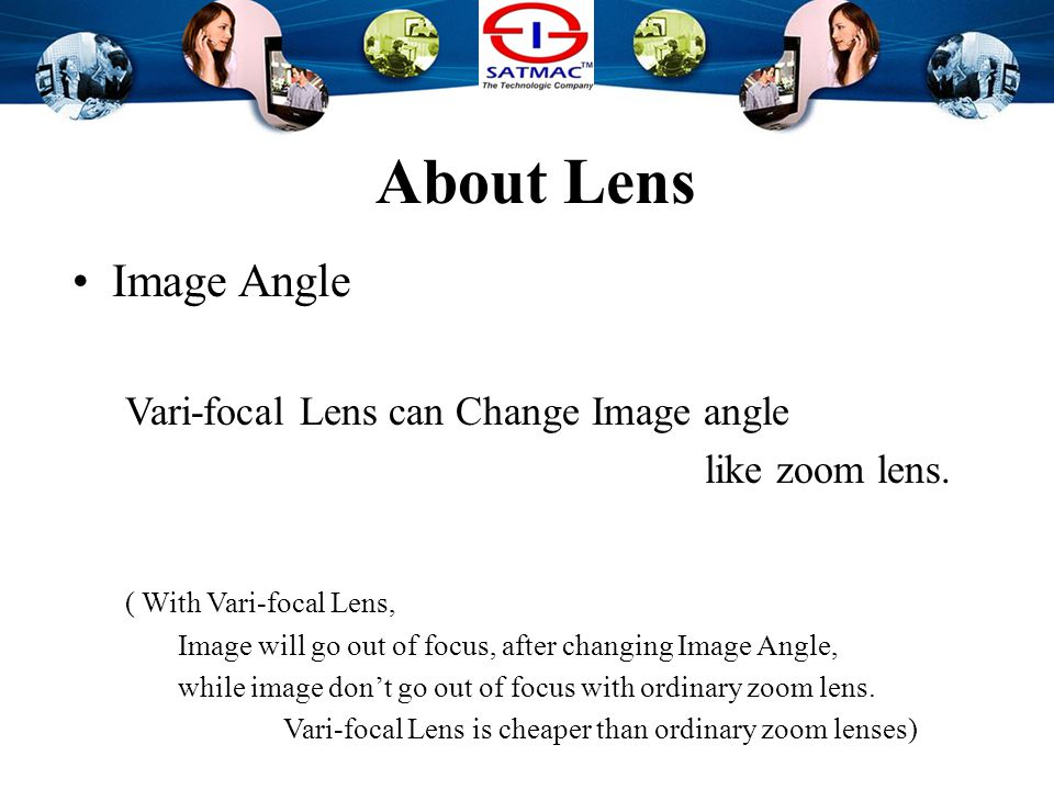 About Lens Image Angle Vari-focal Lens can Change Image angle like zoom lens.