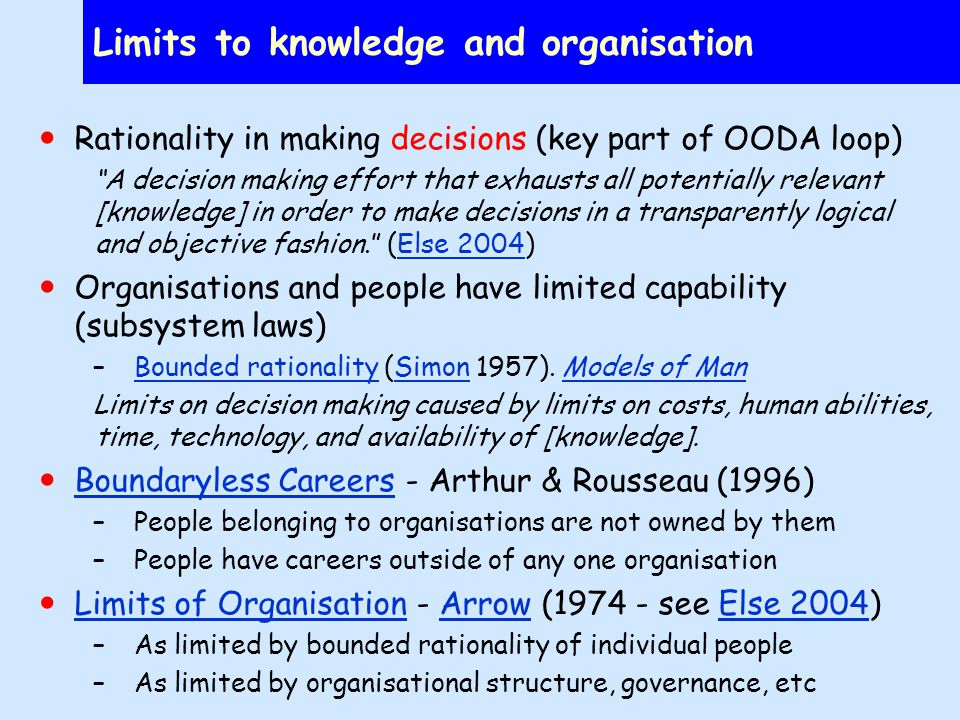 Limits to knowledge and organisation Rationality in making decisions (key part of OODA loop) A decision making effort that exhausts all potentially relevant [knowledge] in order to make decisions in a transparently logical and objective fashion.
