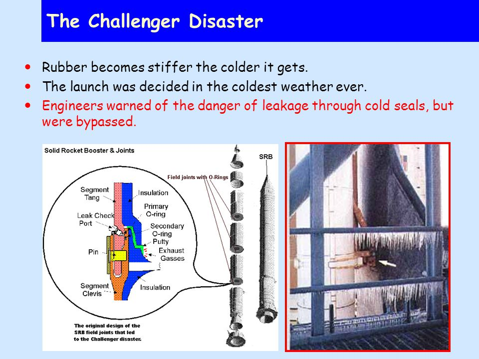 The Challenger Disaster Rubber becomes stiffer the colder it gets.