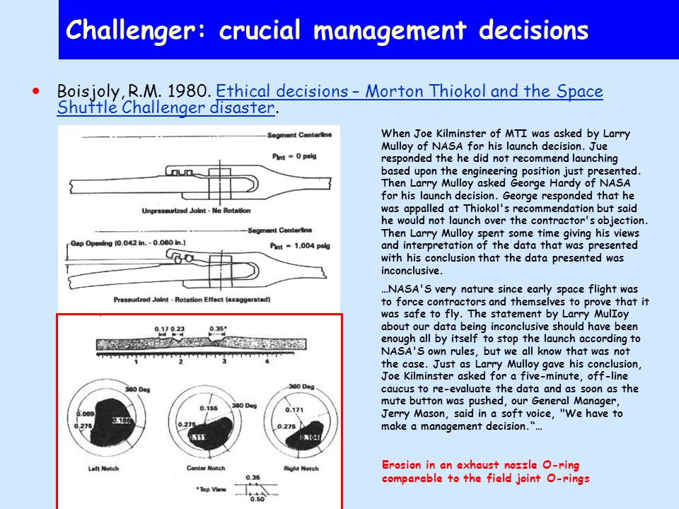 Challenger: crucial management decisions Boisjoly, R.M.