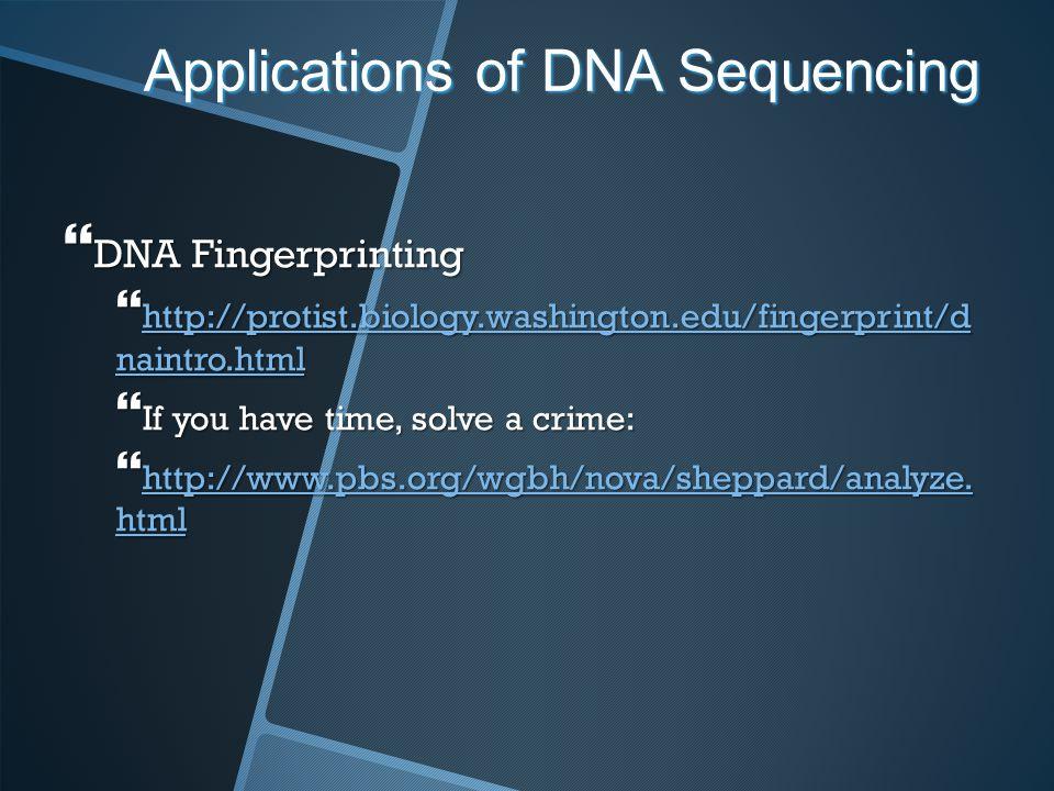 Applications of DNA Sequencing DNA Fingerprinting DNA Fingerprinting http://protist.biology.washington.edu/fingerprint/d naintro.html http://protist.b