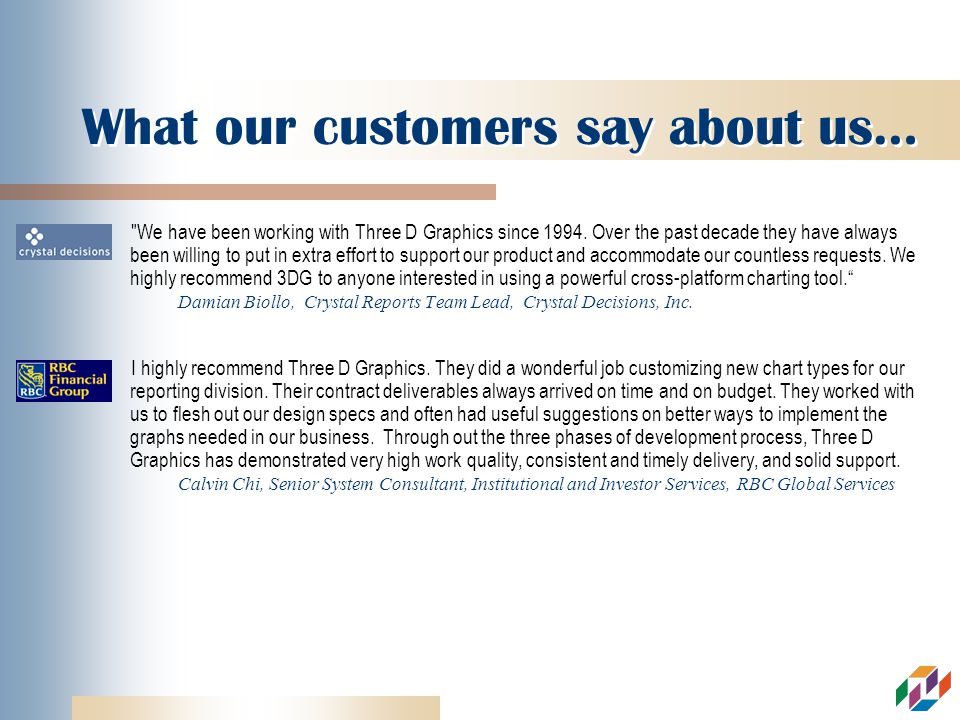 What our customers say about us… We have been working with Three D Graphics since 1994.