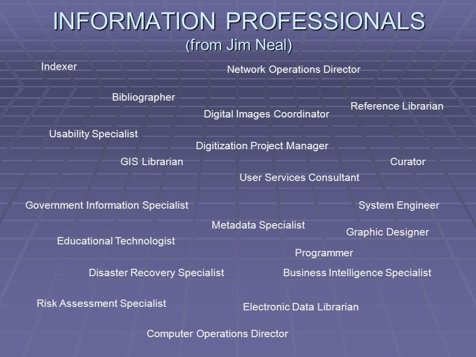 INFORMATION PROFESSIONALS ( from Jim Neal) Indexer Bibliographer Network Operations Director Reference Librarian Digital Images Coordinator Curator Usability Specialist GIS Librarian User Services Consultant Government Information Specialist Metadata Specialist System Engineer Disaster Recovery SpecialistBusiness Intelligence Specialist Risk Assessment Specialist Electronic Data Librarian Digitization Project Manager Educational Technologist Programmer Graphic Designer Computer Operations Director