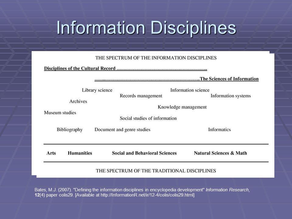 Information Disciplines Bates, M.J. (2007).