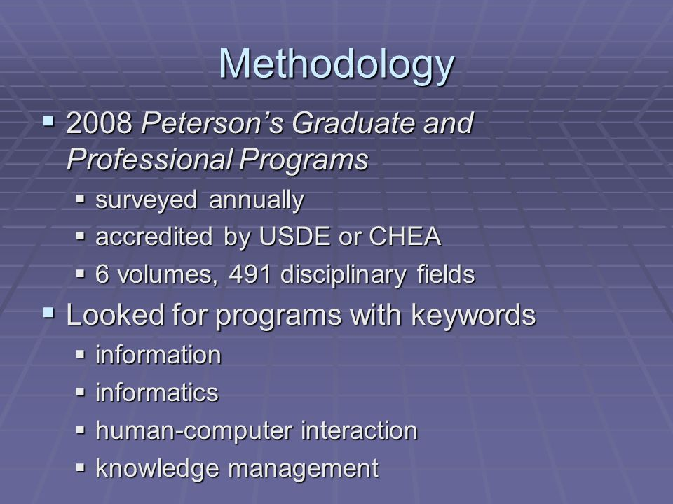 Methodology 2008 Petersons Graduate and Professional Programs 2008 Petersons Graduate and Professional Programs surveyed annually surveyed annually accredited by USDE or CHEA accredited by USDE or CHEA 6 volumes, 491 disciplinary fields 6 volumes, 491 disciplinary fields Looked for programs with keywords Looked for programs with keywords information information informatics informatics human-computer interaction human-computer interaction knowledge management knowledge management