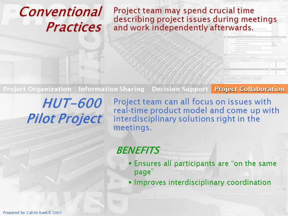 Prepared by Calvin Kam © 2001 Conventional Practices Project team may spend crucial time describing project issues during meetings and work independently afterwards.