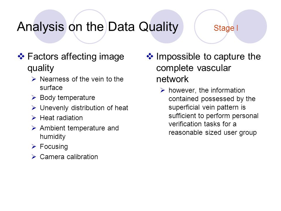 Analysis on the Data Quality Stage I Factors affecting image quality Nearness of the vein to the surface Body temperature Unevenly distribution of heat Heat radiation Ambient temperature and humidity Focusing Camera calibration Impossible to capture the complete vascular network however, the information contained possessed by the superficial vein pattern is sufficient to perform personal verification tasks for a reasonable sized user group