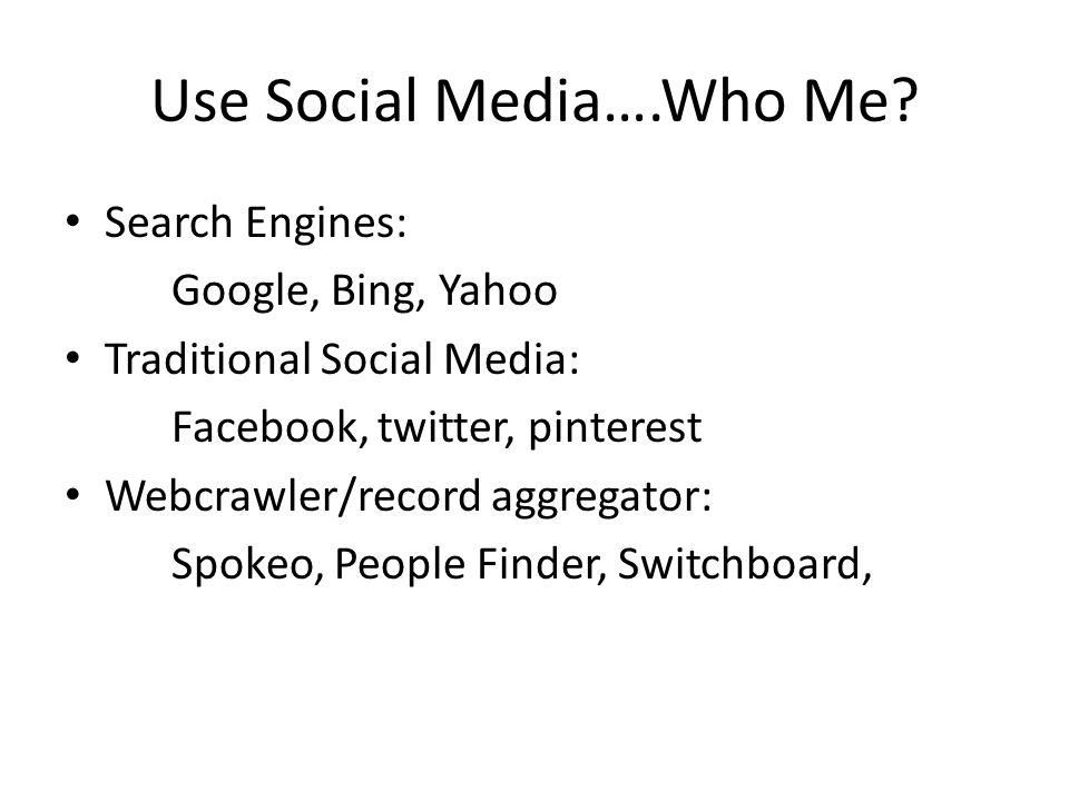 Use Social Media….Who Me.