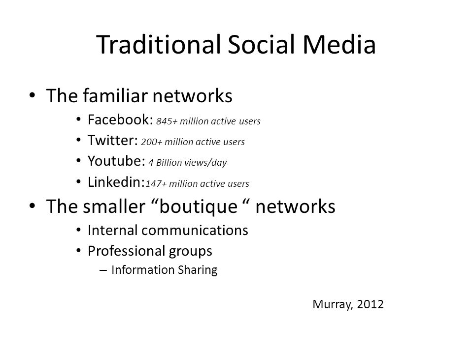 Traditional Social Media The familiar networks Facebook: 845+ million active users Twitter: 200+ million active users Youtube: 4 Billion views/day Linkedin: 147+ million active users The smaller boutique networks Internal communications Professional groups – Information Sharing Murray, 2012