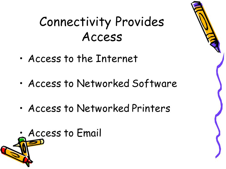 Connectivity Provides Access Access to the Internet Access to Networked Software Access to Networked Printers Access to