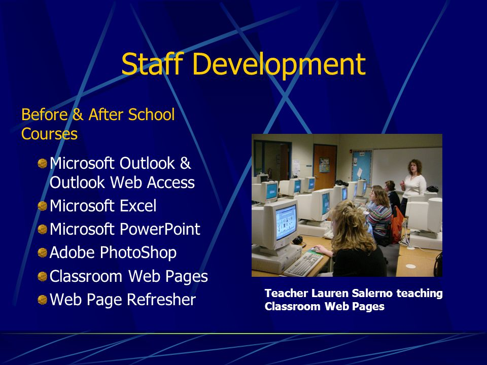 Staff Development Microsoft Outlook & Outlook Web Access Microsoft Excel Microsoft PowerPoint Adobe PhotoShop Classroom Web Pages Web Page Refresher T
