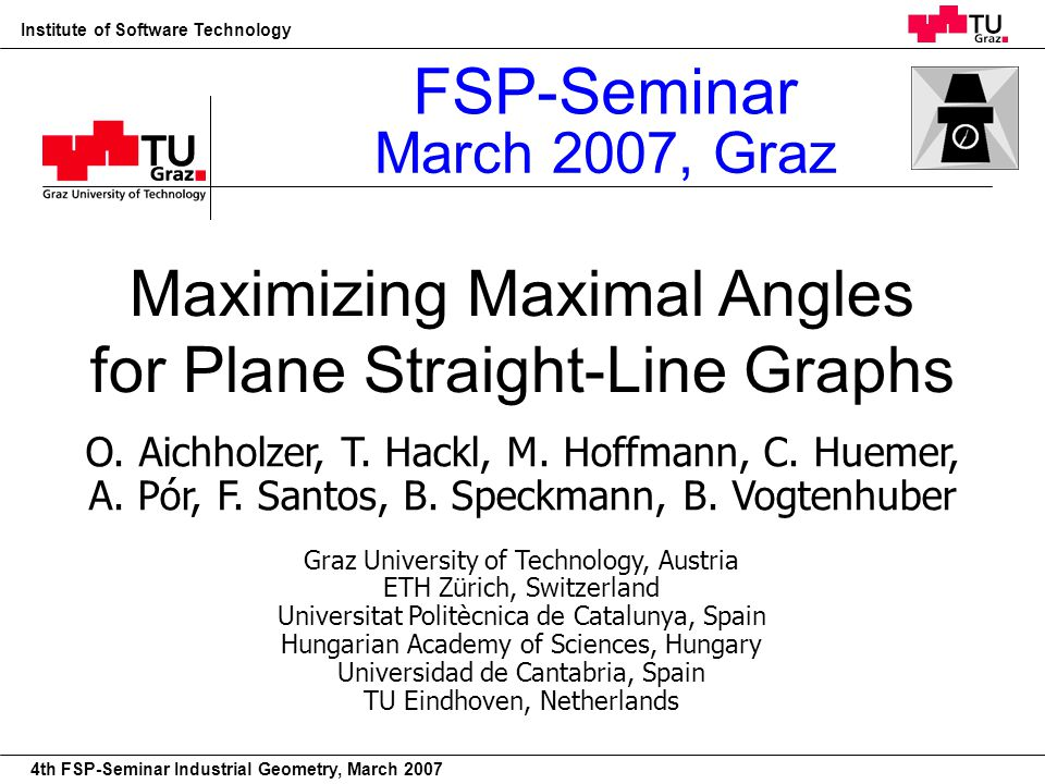 22nd European Workshop on Computational Geometry Institute of Software Technology 4th FSP-Seminar Industrial Geometry, March 2007 Plane Geometric Graphs vertices: –n points in the plane –points in general position edges: –straight lines spanned by vertices (geometric graphs) –no crossings (plane) 1