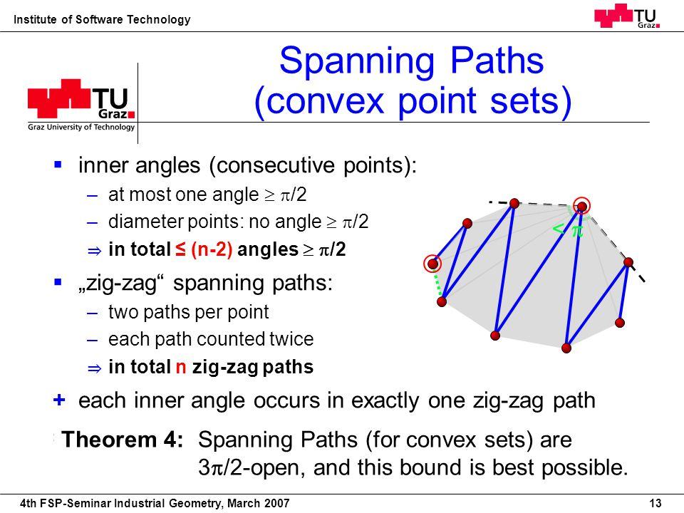 22nd European Workshop on Computational Geometry Institute of Software Technology 4th FSP-Seminar Industrial Geometry, March 2007 inner angles (consec