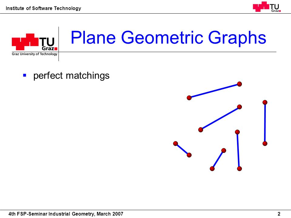 22nd European Workshop on Computational Geometry Institute of Software Technology 4th FSP-Seminar Industrial Geometry, March 2007 Plane Geometric Graphs 2 perfect matchings