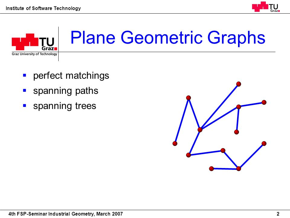 22nd European Workshop on Computational Geometry Institute of Software Technology 4th FSP-Seminar Industrial Geometry, March 2007 Plane Geometric Graphs perfect matchings spanning paths spanning trees 2
