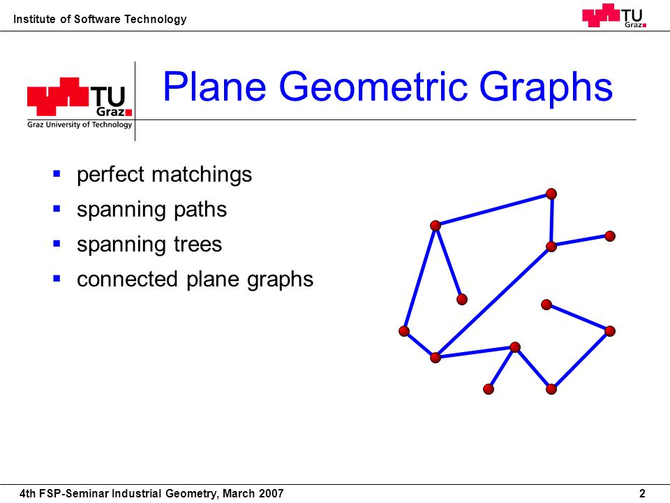 22nd European Workshop on Computational Geometry Institute of Software Technology 4th FSP-Seminar Industrial Geometry, March 2007 Plane Geometric Graphs perfect matchings spanning paths spanning trees connected plane graphs 2