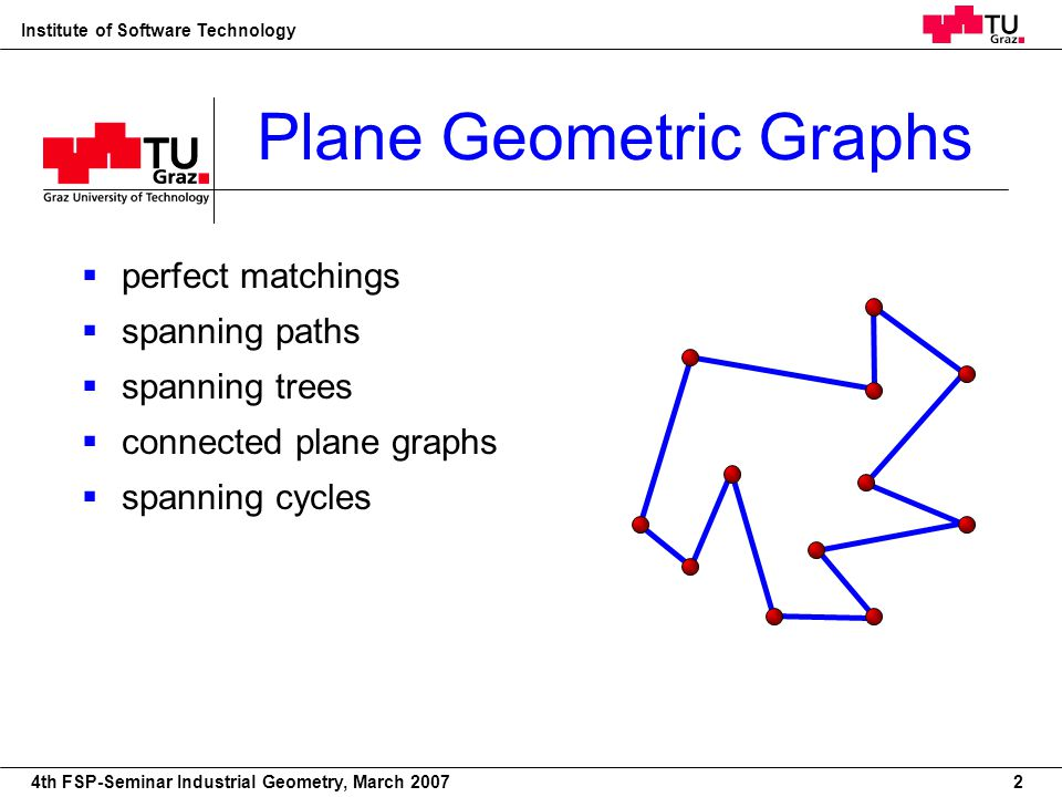 22nd European Workshop on Computational Geometry Institute of Software Technology 4th FSP-Seminar Industrial Geometry, March 2007 Plane Geometric Graphs perfect matchings spanning paths spanning trees connected plane graphs spanning cycles triangulations 2