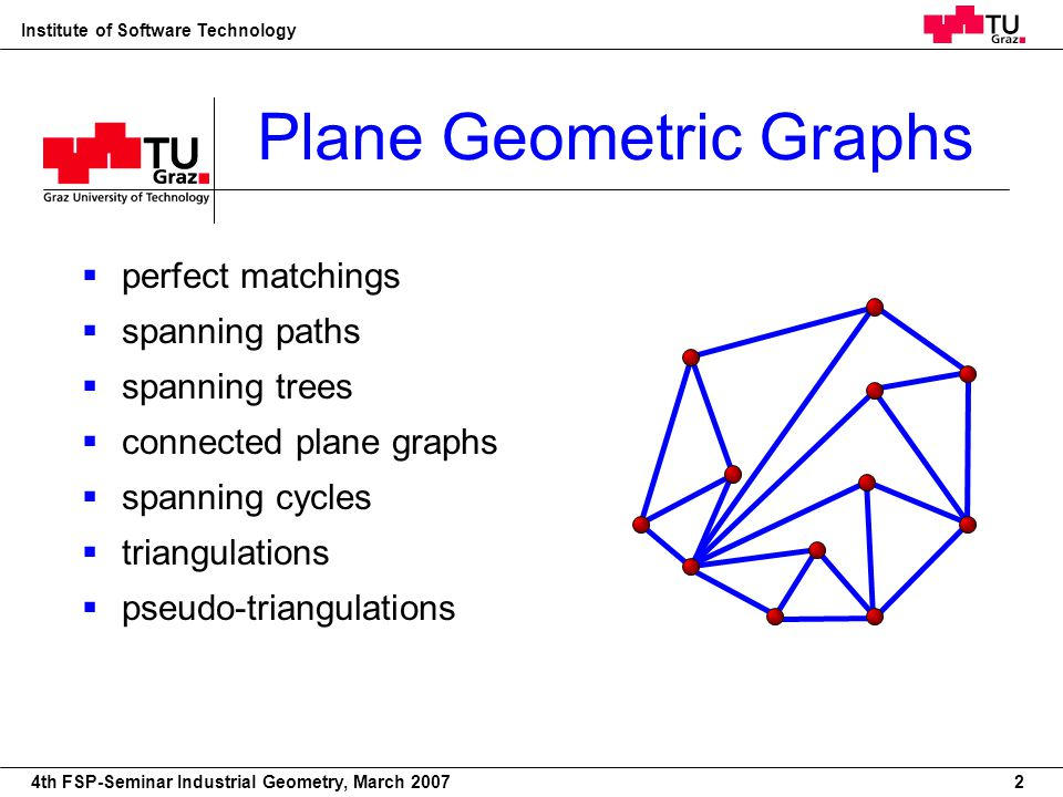 22nd European Workshop on Computational Geometry Institute of Software Technology 4th FSP-Seminar Industrial Geometry, March 2007 Plane Geometric Graphs perfect matchings spanning paths spanning trees connected plane graphs spanning cycles triangulations pseudo-triangulations 2
