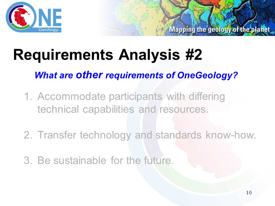 10 Requirements Analysis #2 What are other requirements of OneGeology.