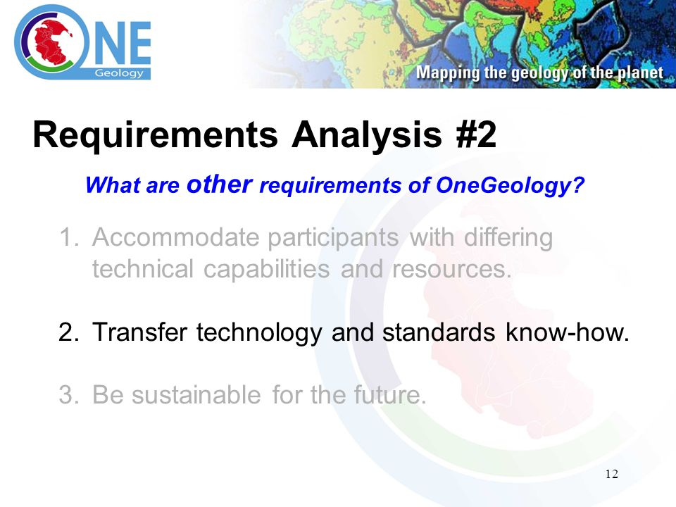 12 Requirements Analysis #2 What are other requirements of OneGeology.
