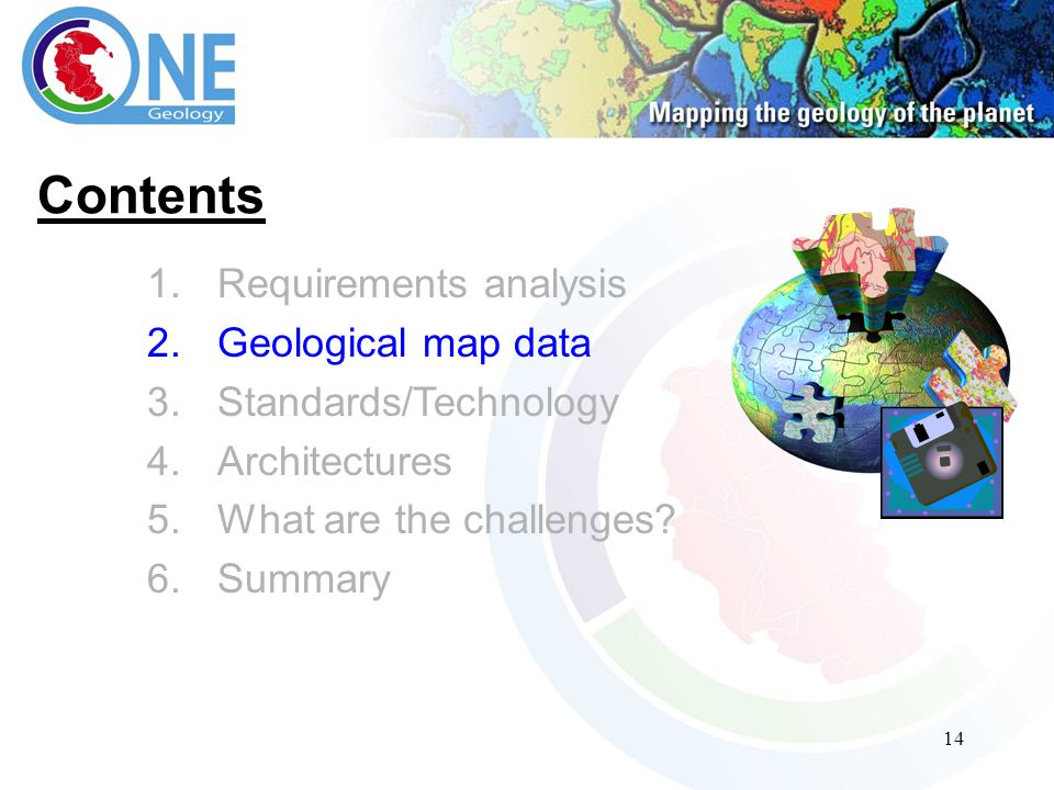 14 Contents 1.Requirements analysis 2.Geological map data 3.Standards/Technology 4.Architectures 5.What are the challenges.