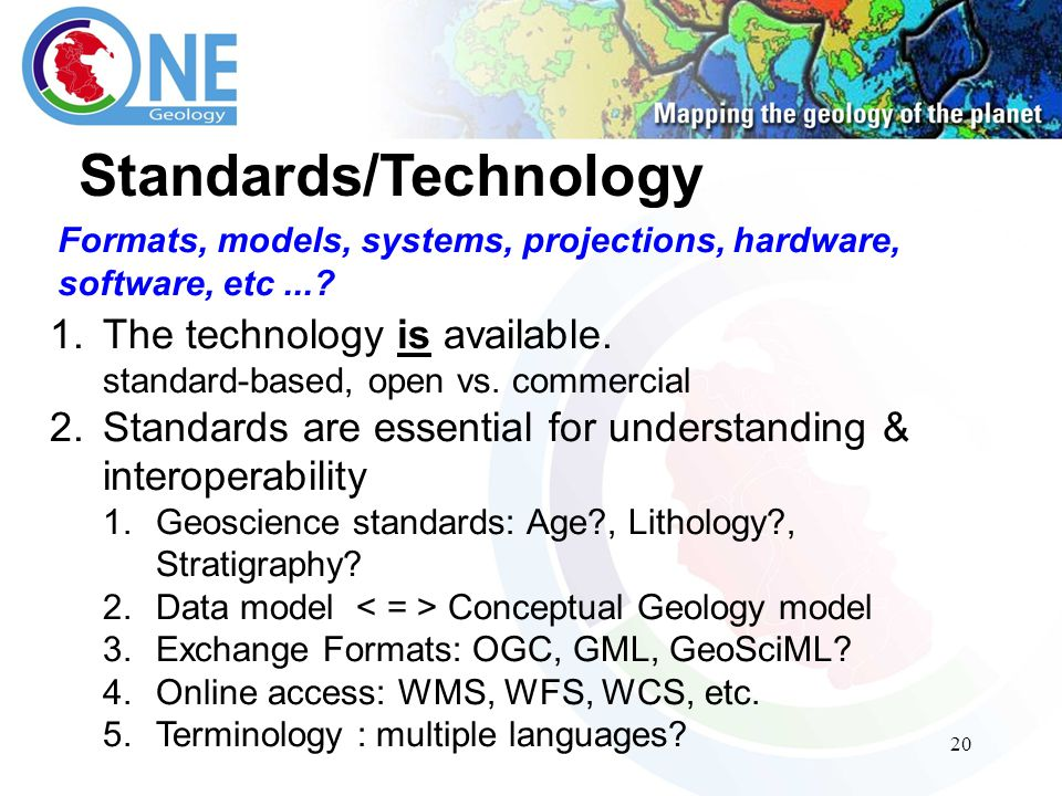 20 Standards/Technology 1.The technology is available.