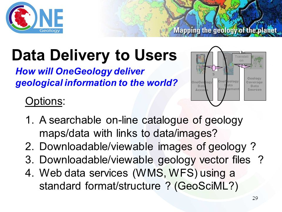 29 Data Delivery to Users How will OneGeology deliver geological information to the world.