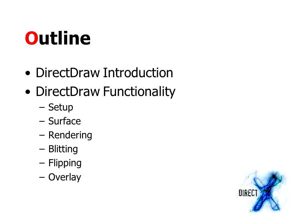 Setup Set cooperative level pDDraw->SetCooperativeLevel(hWnd, DDSCL_FULLSCREEN | DDSCL_EXCLUSIVE | DDSCL_NOWINDOWCHANGES) ;