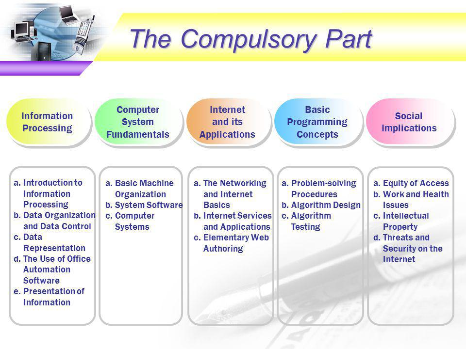 The Compulsory Part a.Introduction to Information Processing b.Data Organization and Data Control c.Data Representation d.The Use of Office Automation Software e.Presentation of Information a.Basic Machine Organization b.System Software c.Computer Systems a.The Networking and Internet Basics b.Internet Services and Applications c.Elementary Web Authoring a.Problem-solving Procedures b.Algorithm Design c.Algorithm Testing a.Equity of Access b.Work and Health Issues c.Intellectual Property d.Threats and Security on the Internet Computer System Fundamentals Information Processing Internet and its Applications Internet and its Applications Basic Programming Concepts Social Implications