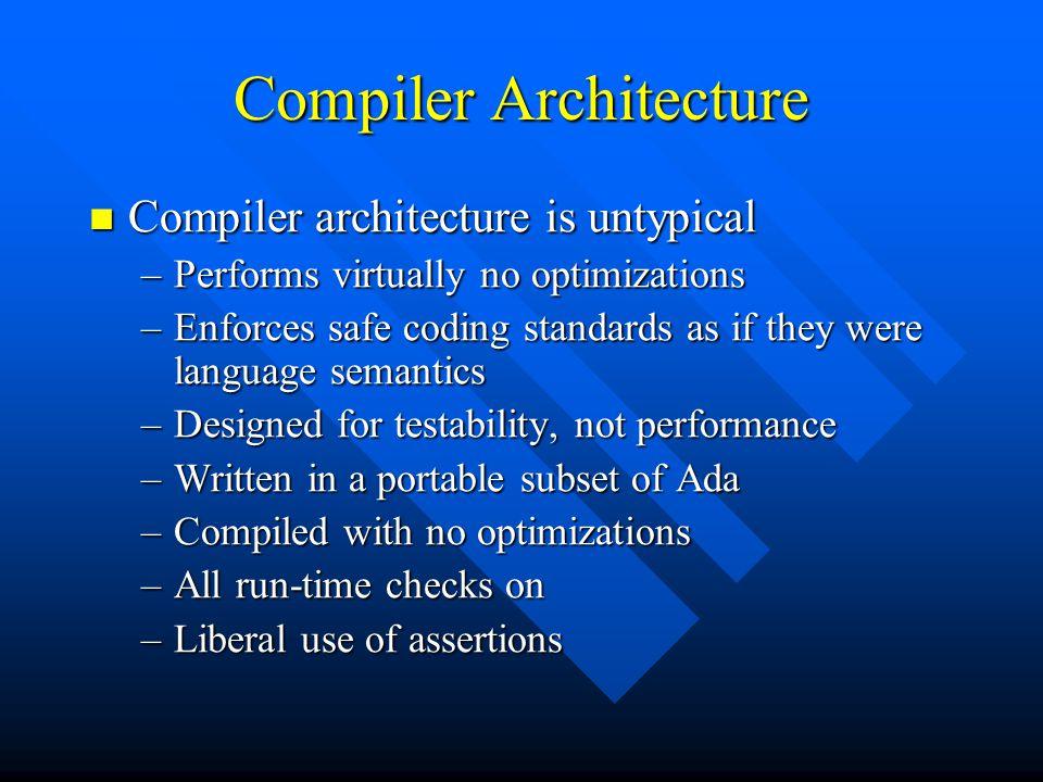 Compiler Architecture Compiler architecture is untypical Compiler architecture is untypical –Performs virtually no optimizations –Enforces safe coding