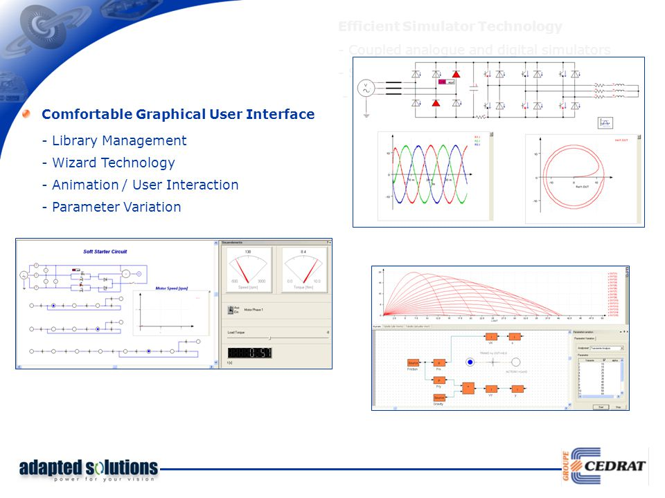 Efficient Simulator Technology - Coupled analogue and digital simulators - Several analysis types / initialization options - Variable step size Comfor