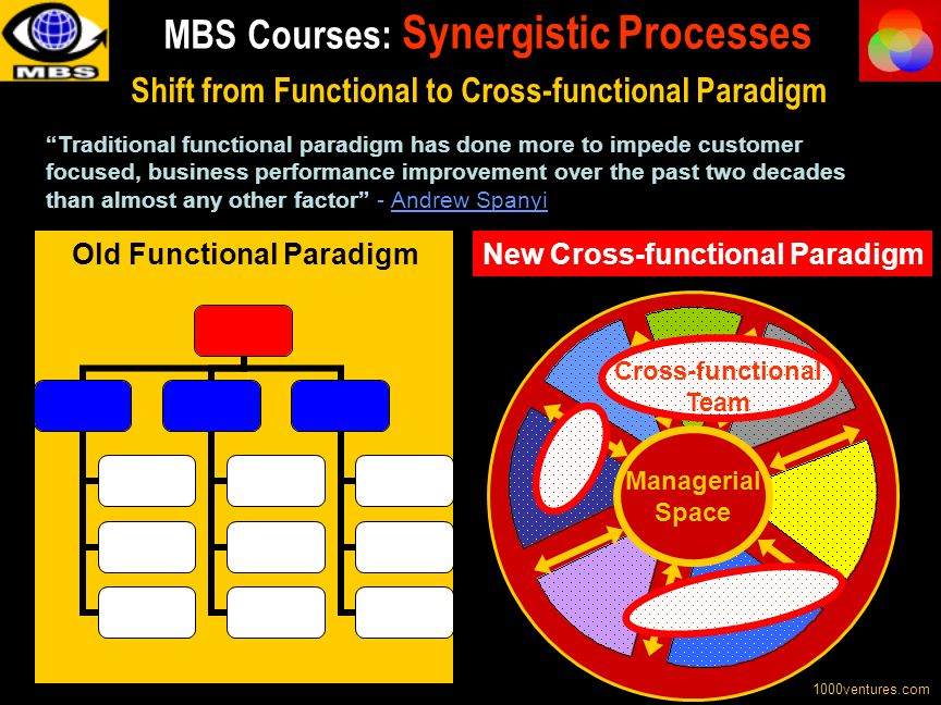 Managerial Space Cross-functional Team Shift from Functional to Cross-functional Paradigm 1000ventures.com Old Functional Paradigm Traditional functio