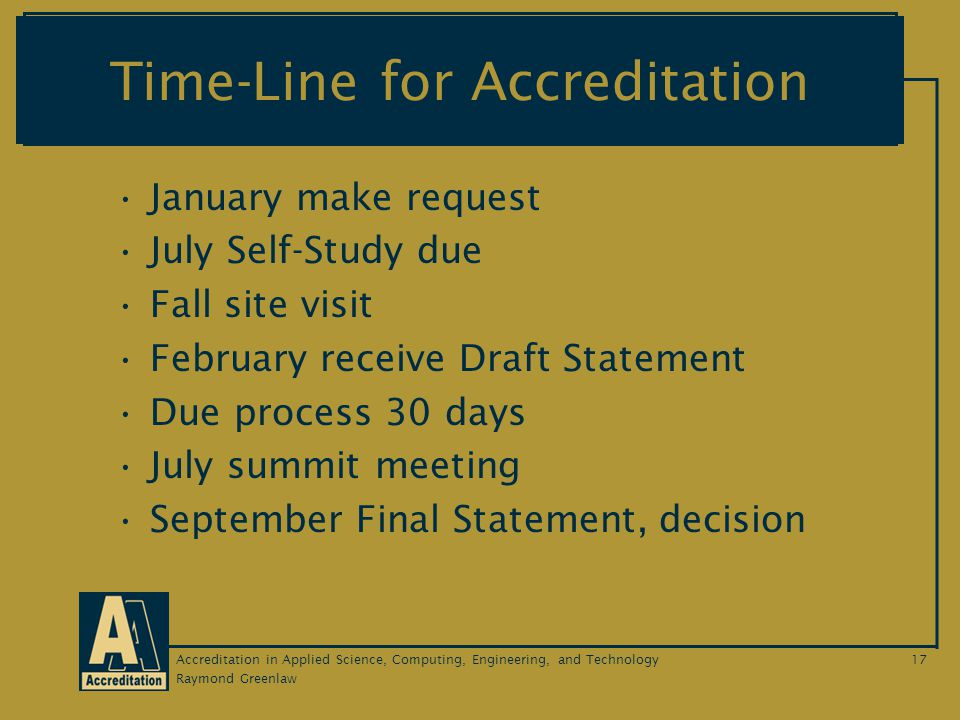 Raymond Greenlaw Accreditation in Applied Science, Computing, Engineering, and Technology17 Time-Line for Accreditation January make request July Self-Study due Fall site visit February receive Draft Statement Due process 30 days July summit meeting September Final Statement, decision