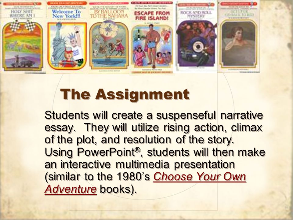 The Assignment Students will create a suspenseful narrative essay.